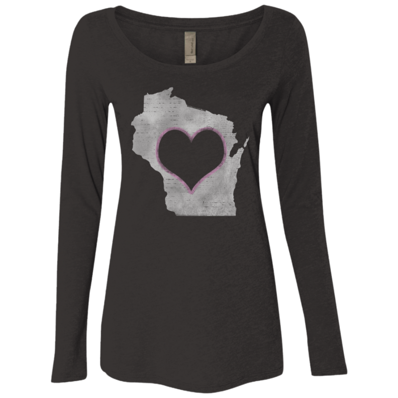 Love Home Wisconsin Womens Triblend LS Scoop