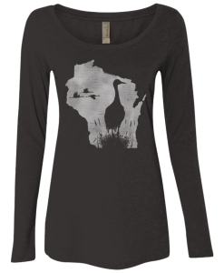 Wisconsin Sandhill Crane Womens Triblend LS Scoop