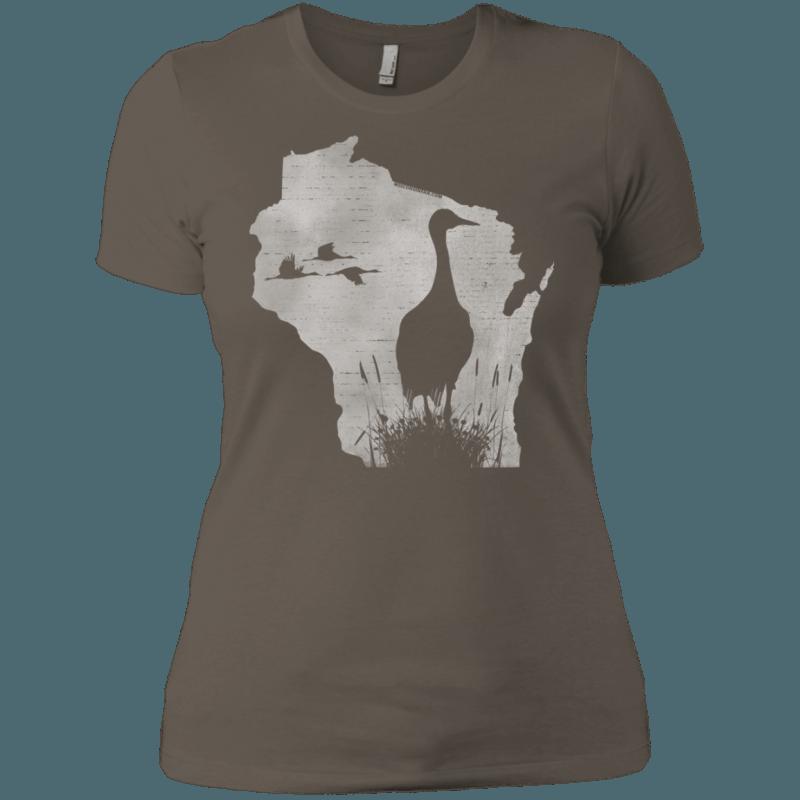 Wisconsin Sandhill Crane Womens Boyfriend T-Shirt