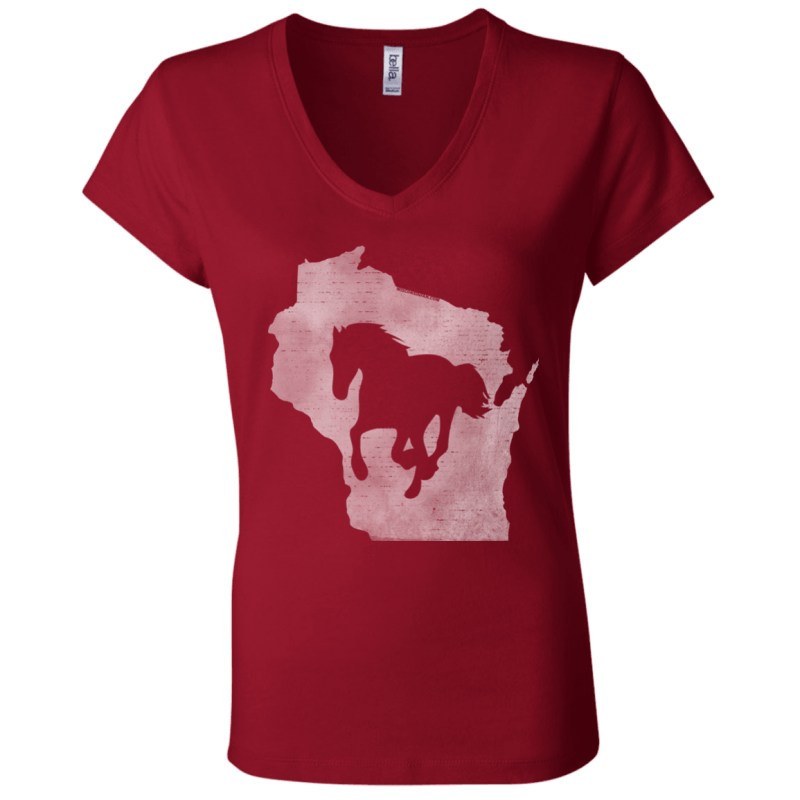 Wisconsin Horse Lover Womens Jersey V-Neck T-Shirt