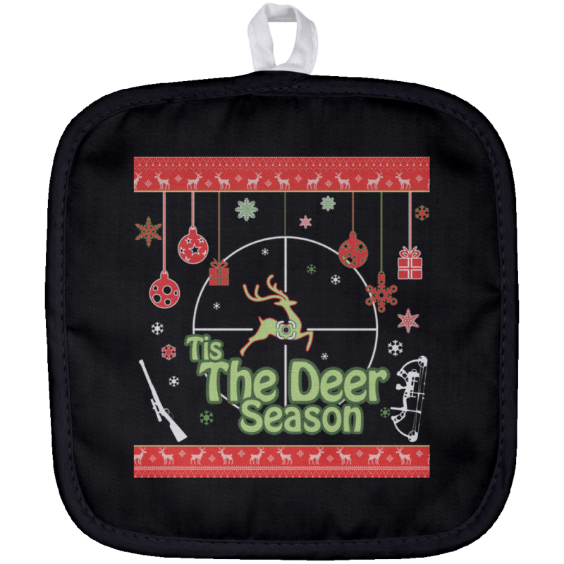 Tis The Deer Season Christmas Hunting Pot Holder