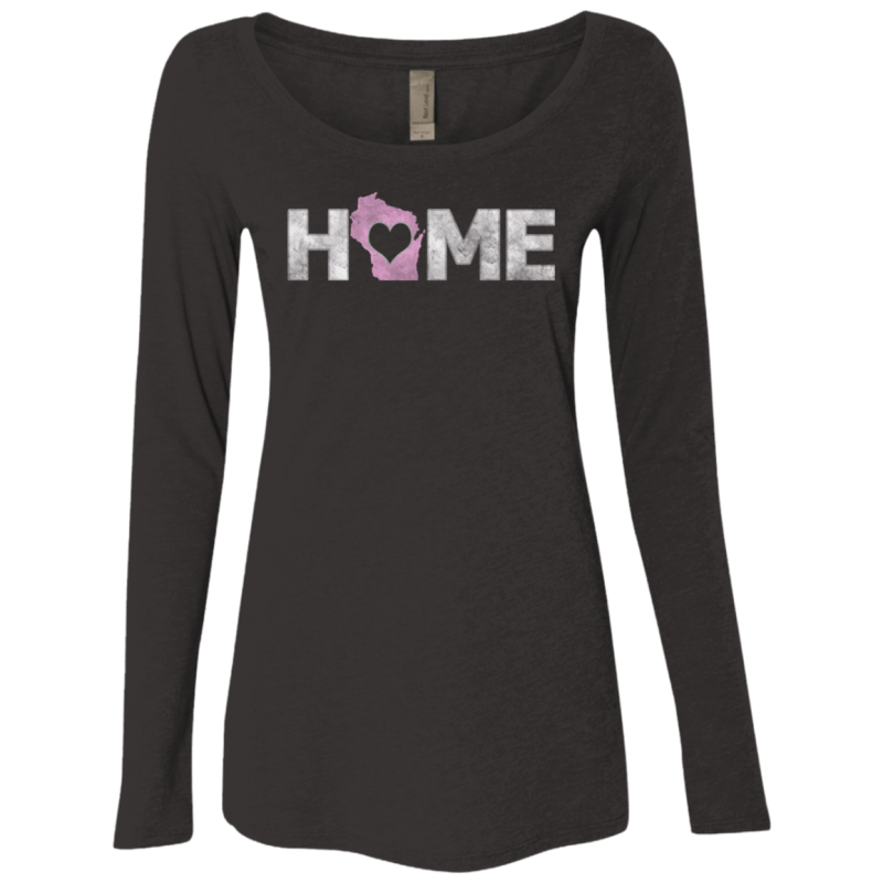 Love Wisconsin Home Woman's Triblend LS Scoop