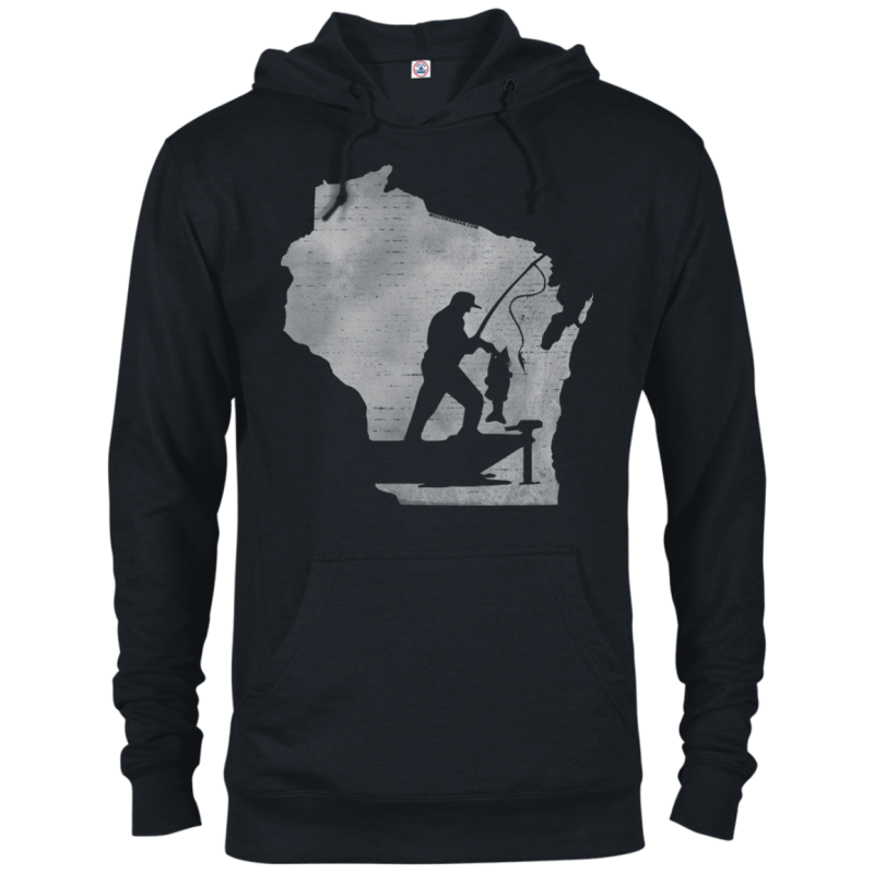 Wisconsin Fisherman Mens French Terry Hoodie