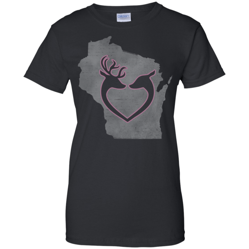 Love Wisconsin Hunting Womans 100% Cotton T-Shirt