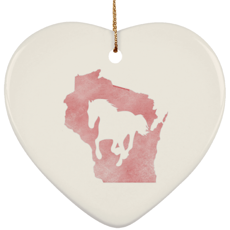 Wisconsin Horse Lover Ceramic Heart Ornament
