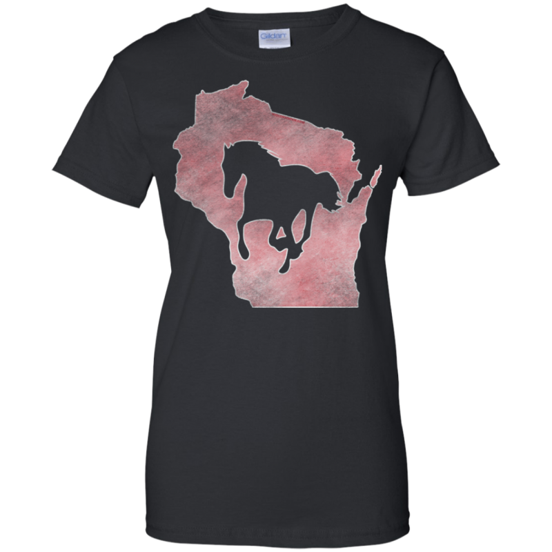 Pink Wisconsin Horse Lover Womans 100% Cotton T-Shirt