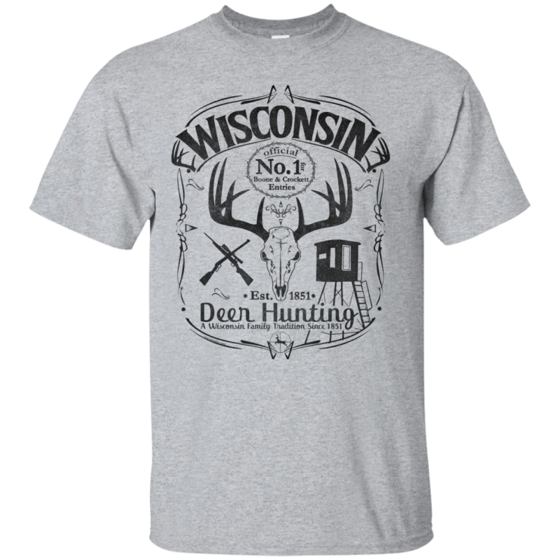 Wisconsin B&C Deer Hunter T-Shirt Blk