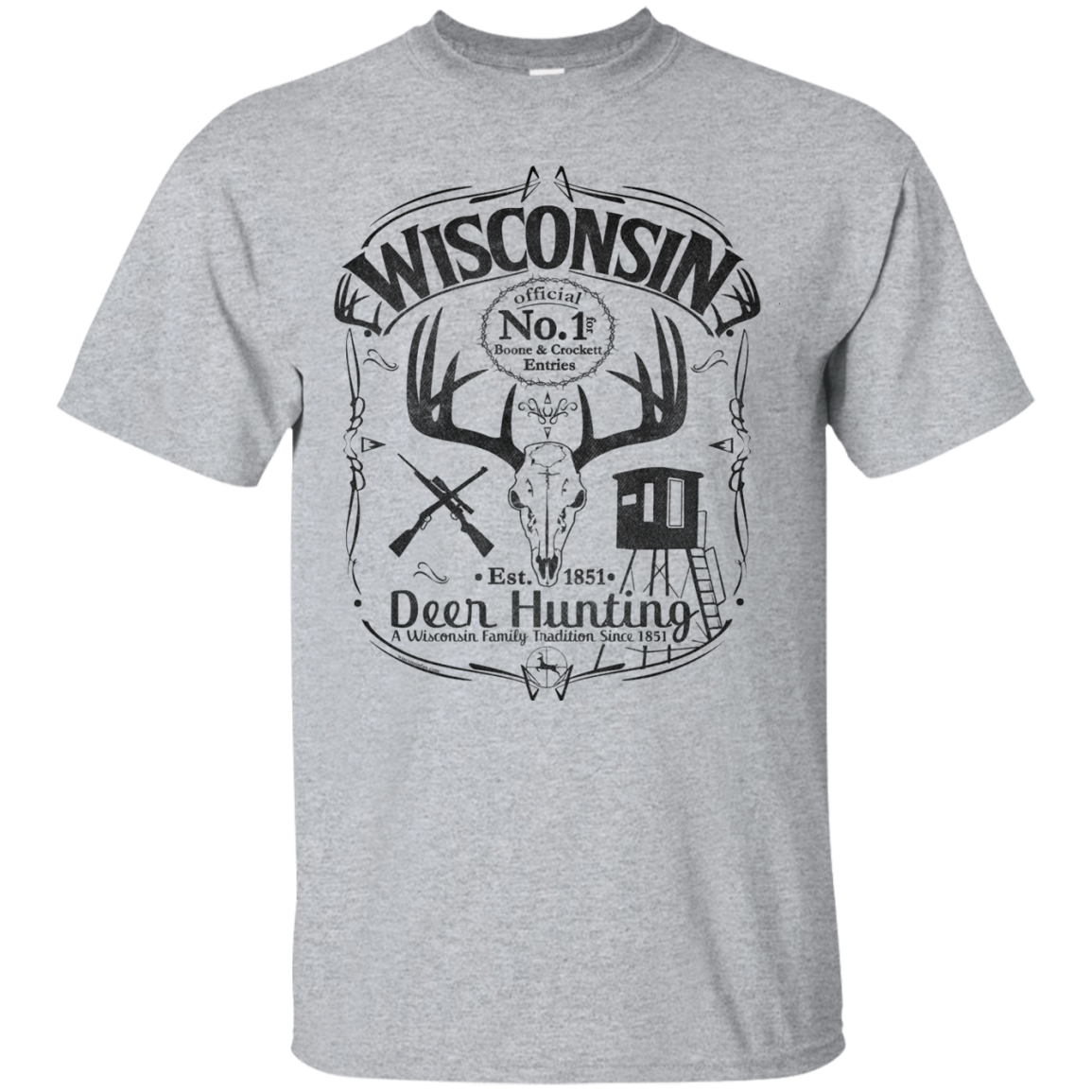 Wisconsin B&C Deer Hunter T Shirt Blk WisconsinFan