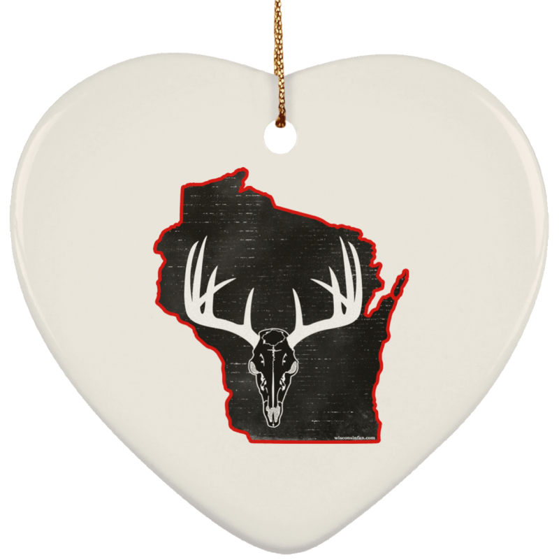 Wisconsin Deer Hunter Ceramic Heart Christmas Ornament Gift