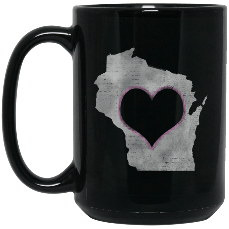 Love Home Wisconsin 15 oz. Black Mug