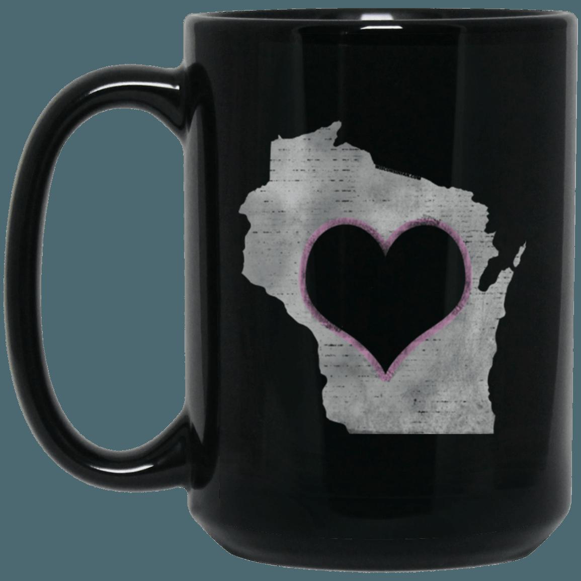 Love Home Wisconsin 15 oz. Black Mug