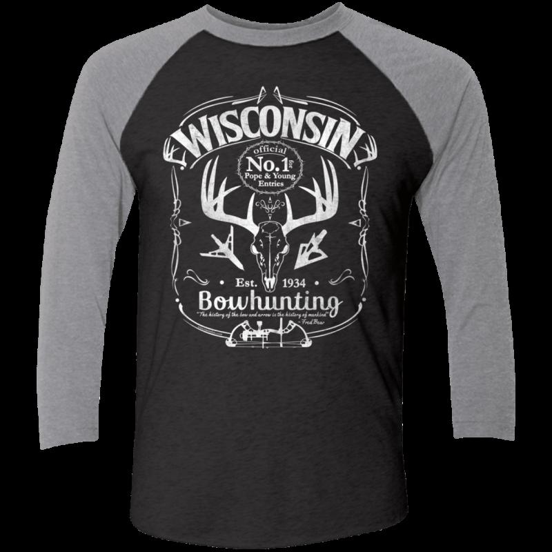 Wisconsin P&Y Bowhunting Baseball Raglan T-Shirt Wht