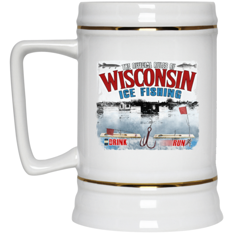 Rules Of WI Ice Fishing Beer Stein 22oz.