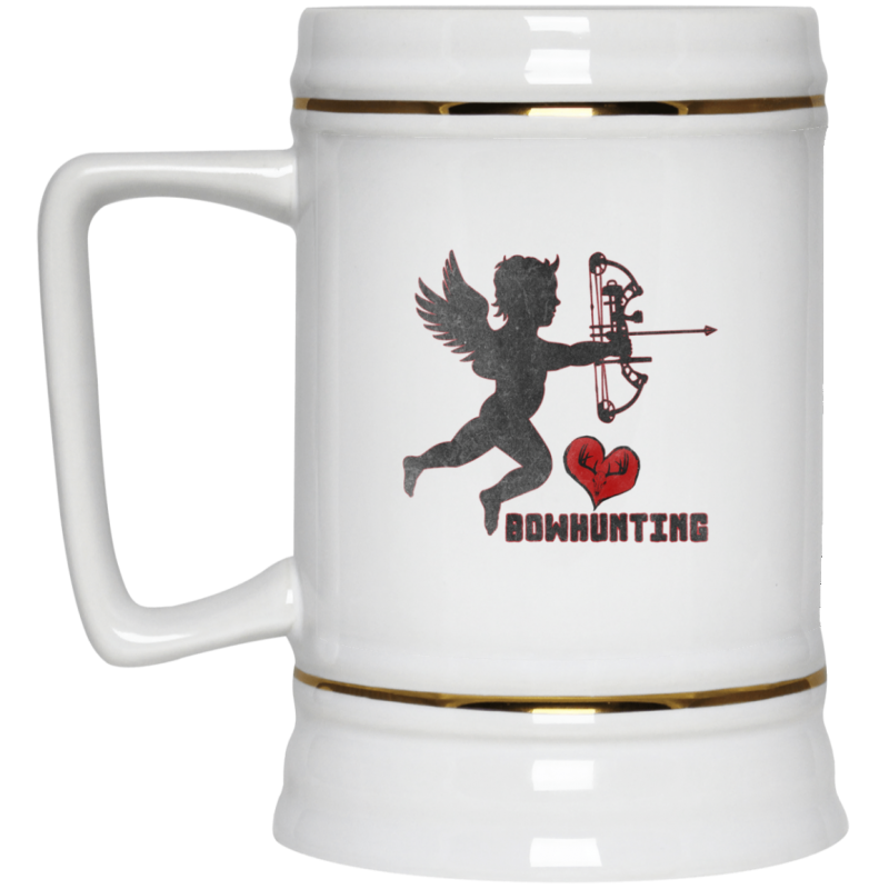 Cupid With A Compound [Love Bowhunting] Beer Stein 22oz.