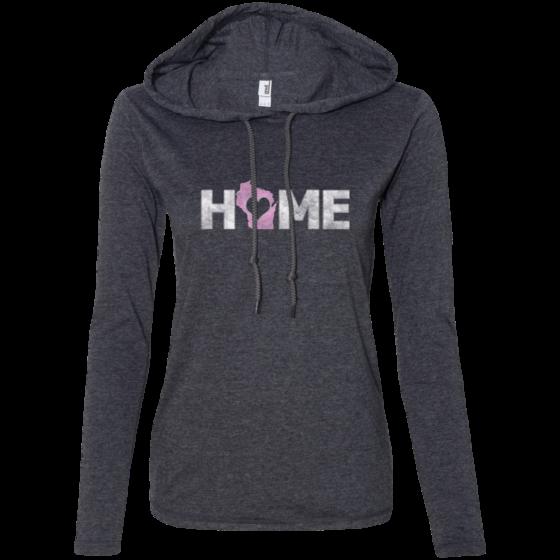 wisconsin home ladies long sleeve hooded tshirt