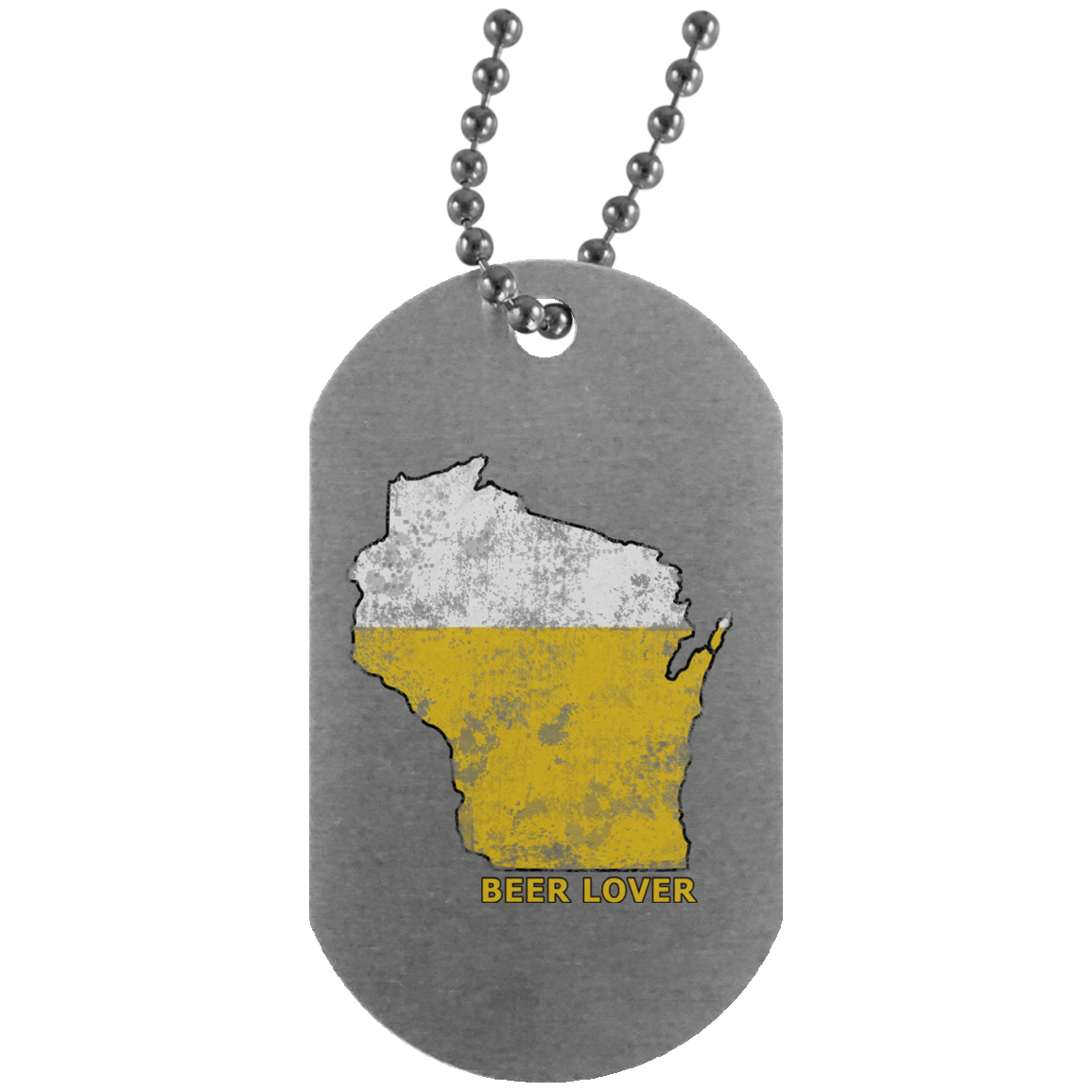 Wisconsin Beer Lover Silver Dog Tag