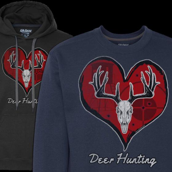mens love deer hunting hoodie sweatshirt