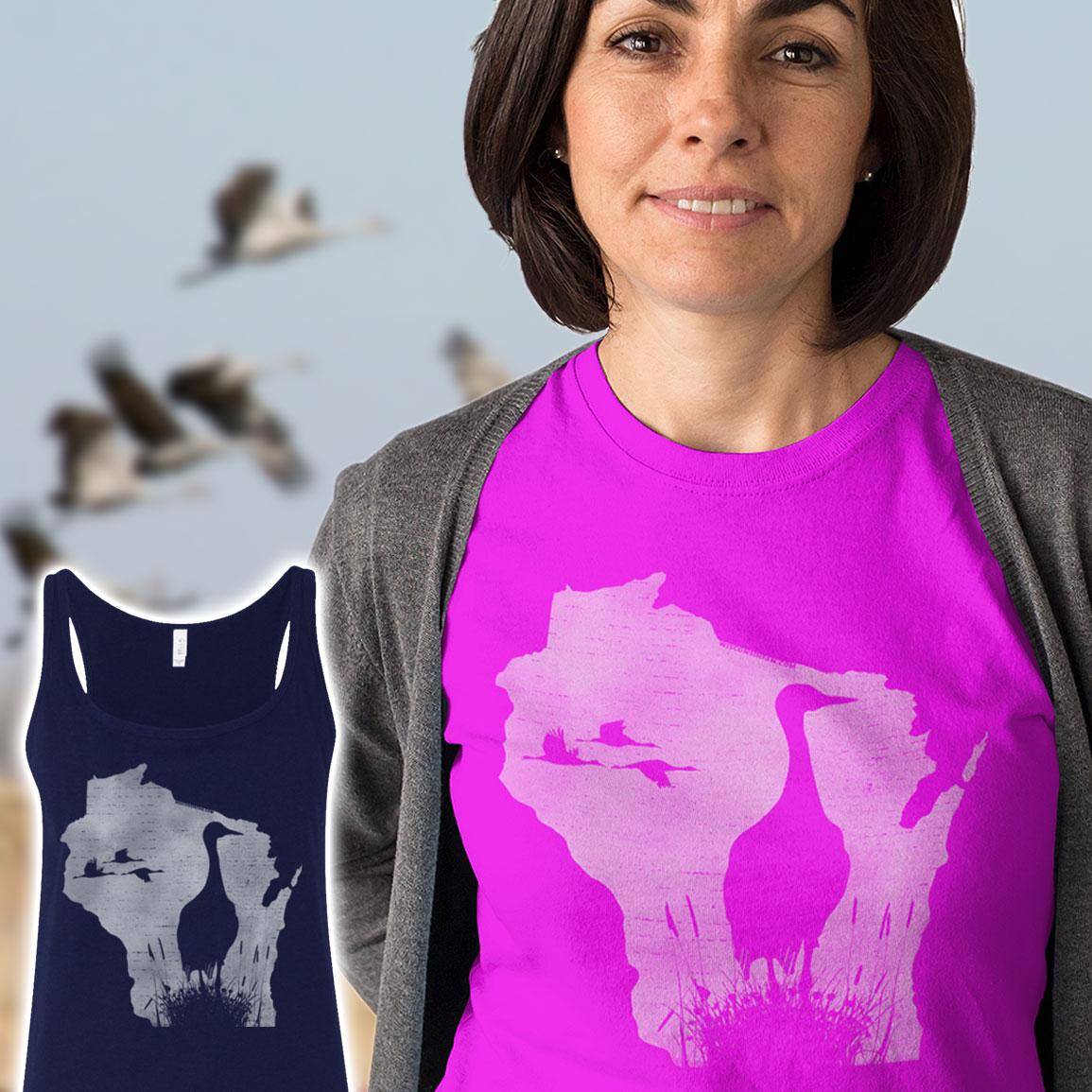 womans-sandhill-crane-tshirt