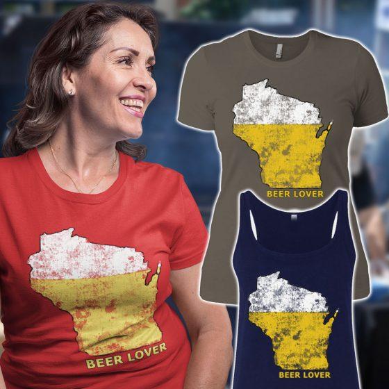 wisconsin beer drinker ladies t-shirt