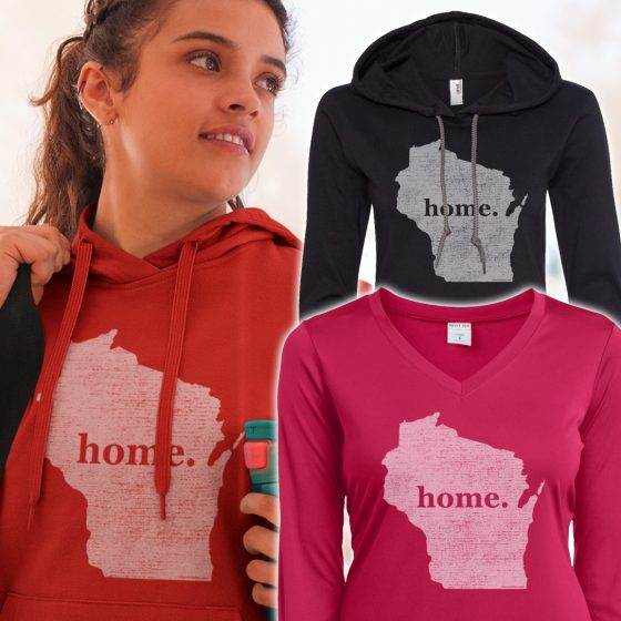 ladies home wisconsin hoodies