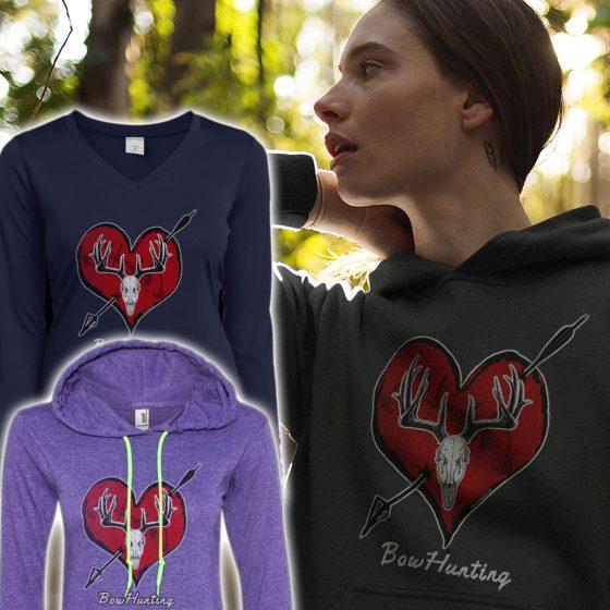 womans bow hunter design hoodies