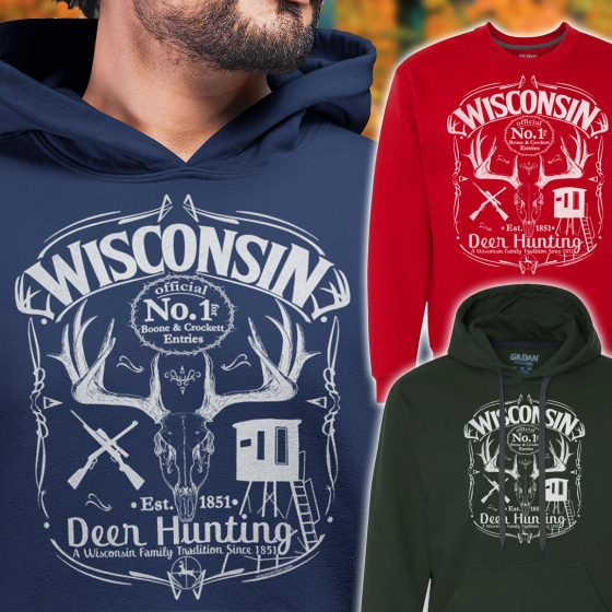 wisconsin deer hunting mens hoodie