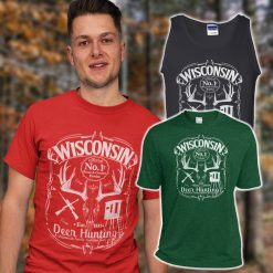 mens wisconsin deer hunter tshirt