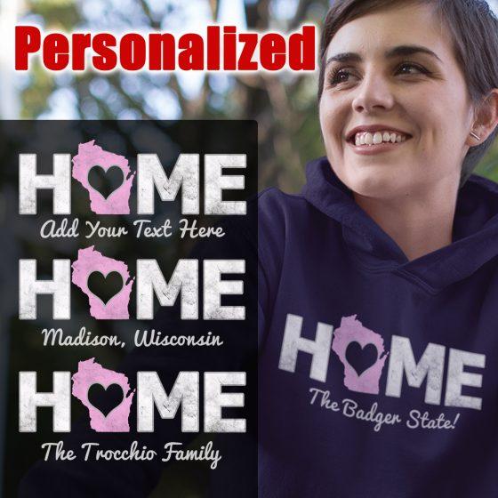 wi home state custom ladies hoody