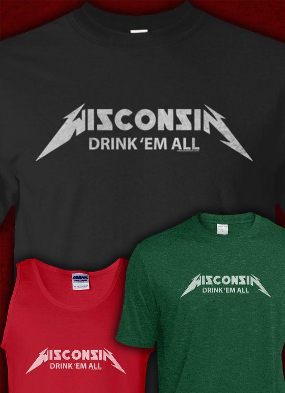 wisconsin drink them all mens tshirt