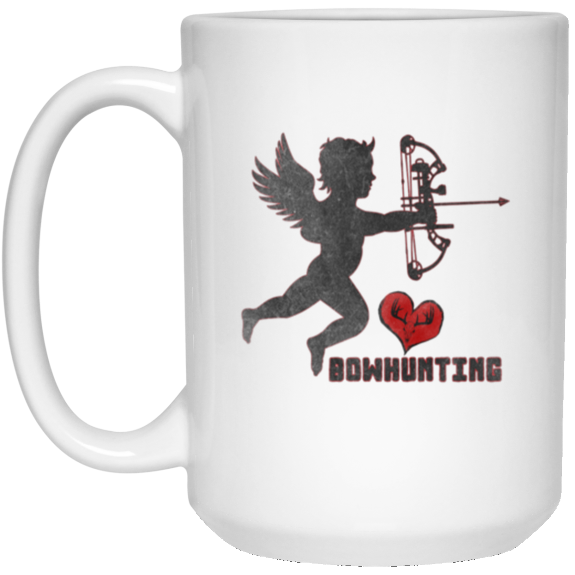 Cupid With A Compound [Love Bowhunting] White Coffee Mug
